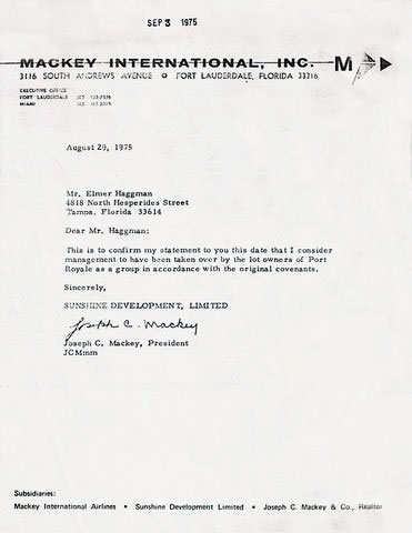Letter from Mackey International